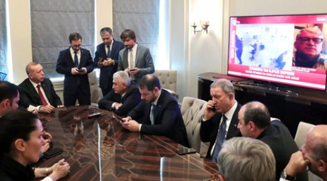 Erdoğan depremi Televizyondan Takip Etti